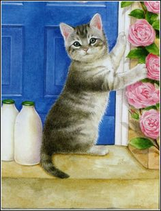 This is June cat. From an old calender from a few years ago. No mention of the artist though. Love the milk bottles!