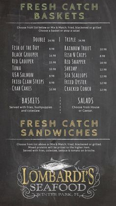 Digital Chalk Menu Design for Lombardi's Seafood in Winter Park, FL - Design and Software by Menuat
