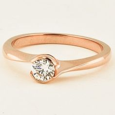 14K Rose Gold Cascade Ring | Set with a 0.40 Carat, Round, Very Good Cut, H Color, VS2 Clarity Canadain Diamond #BrilliantEarth