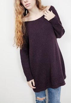 Simple and stylish oversize sweater!  It is made of soft 60% wool/ 40% acrylic yarn. It is a perfect item for Fall/winter. Color: purple/ Eggplant Pls. see color options for other colors.  Size: S(0-4) M(6-8)L(10-12)XL(14-16) Hand wash only and lay flat to dry.  I have other colors for this sweater. Pls. Check my shop for details: http://www.etsy.com/shop/MaxMelody?section_id=7175104  DESIGN RIGHTS BELONG TO MAXMELODY