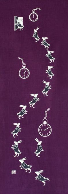 Japanese Tenugui Cotton Fabric, Watch & Rabbit, Animal Print Fabric, Hand Dyed Fabric, Wall Hanging, Bunny Zakka, Home Decor Wall Art, JapanLovelyCrafts