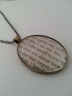 Persuasion Captain Wentworth's Letter Necklace. Jane Austen.  Book Jewellery by GlamorousGlueDesigns, $18.50