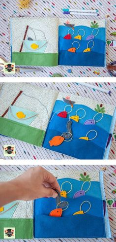 quite book - fishing - Good Gifts: A Developing Key . - Jana Brauer - - quite book – fishing – Добрые подарки: Развивающая кн… quite book – fishing – Good gifts: Developing books from fabric and felt – Fishing Diy Quiet Books, Baby Quiet Book, Felt Quiet Books, Quiet Book Templates, Quiet Book Patterns, Book Projects, Sewing Projects, Silent Book, Felt Fish
