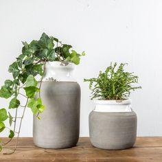 White Ceramic and Cement Pot