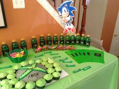 Video game party table display.