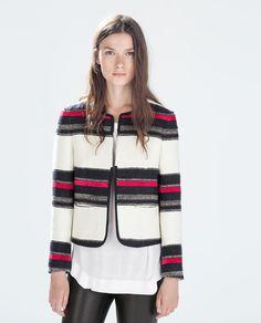 #stripe #blazer | #zara | I might have to get this... cozy striped blazer.