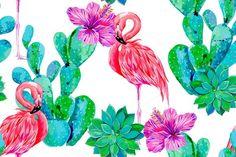 Pink flamingos,cactus vector pattern by Tropicana on @creativemarket