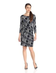 Anne Klein Women's Petite Diamond Print Faux Wrap Dress #workdresses