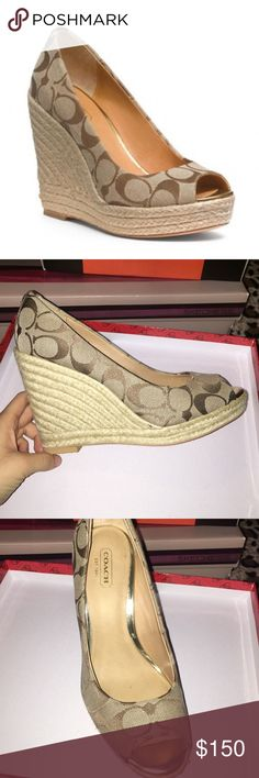 Coach wedges Coach wedges. Look brand new and in great condition. Only worn once Coach Shoes Wedges