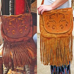 Hand Tooled Antique Finish Leather Finge Back Side Pocket Suede Inlay Adjustable Shoulder Strap Dimensions- inches in length, 11 inches wide, 10 inch fringe and 21 inch strap. Strap can be let out a couple of inches Leather Tooling, Leather Purses, Tooled Leather, Leather Fringe, Leather Bag, Boho Gypsy, Hippie Boho, Hippie Chick, Estilo Hippy