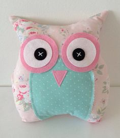 Owl cushion/pillow in Pink Cath Kidston by PeoniesandPumpkins, £8.50