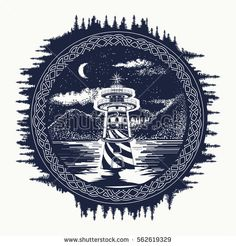 Lighthouse on the mountain lake tattoo art. Symbol of travel, tourism, meditation, adventures, great outdoors. Beacon on the mountain lake landscape t-shirt design hipster style