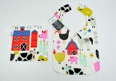 """Toddler Bib 10""""x 17"""" 1yr-3+ yrs Farm, Bib, Animal, sheep, pig, duck, goat, horse, cow, barn, barnyard, birds, rooster, chicken, 100% cotton by TextileTrolley on Etsy"""