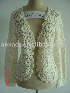 v stitch crochet top - trp Yahoo Image Search Results T-shirt Au Crochet, V Stitch Crochet, Crochet Bolero, Cardigan Au Crochet, Crochet Ruffle Scarf, Beau Crochet, Mode Crochet, Crochet Coat, Crochet Shirt