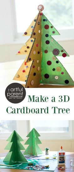How to make a 3D cardboard Christmas tree with button ornaments. This is a fun Christmas craft for kids to make as the holidays approach. Click for the tutorial and pics.