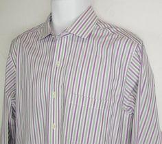 Brooks Brothers Striped Dress Shirt Slim Fit Non Iron 100% Cotton sz 15 1/2 X 33 #BrooksBrothers