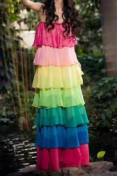 $17.11 Multilayered Square Neck Color Block Sleeveless Bohemian Maxi Dress For Women