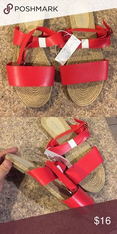 Flat Red Espradille Sandals Flat sandals Old Navy Shoes Sandals
