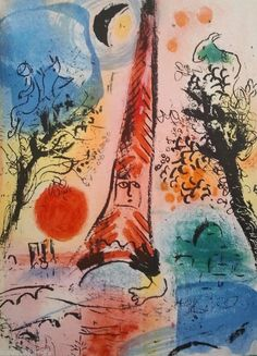 Marc Chagall - Between Surrealism & NeoPrivitivism - Lithographie 287 : Vision of Paris