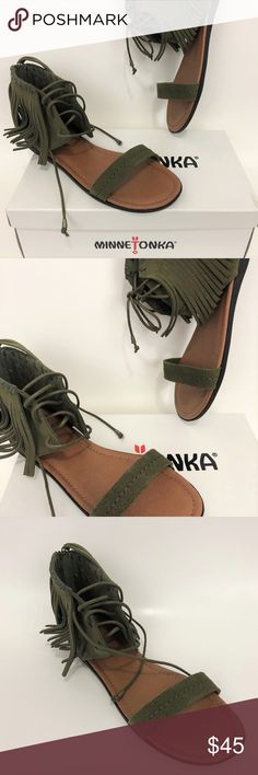 cb0697633a145 Minnetonka Havana Fridge Tassel Sandals Olive 9 M Lace-Up ankle cuff with  Fringe and