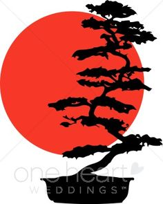 Two classic symbols of Japan have been artfully joined in this illustration. The red sun of the Japanese flag provides the backdrop for an elegant bonsai silhouette. Bonsai Tree Tattoos, Japanese Tree, Tree Clipart, Pine Tree Tattoo, Japanese Tattoo Art, Tree Logos, Art Japonais, Samurai Art, Tree Silhouette