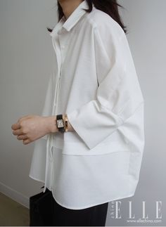 oversize womens clothing casual look in white shirt – Mode für Frauen Looks Street Style, Looks Style, Style Casual, Casual Looks, Trendy Style, Look Fashion, Womens Fashion, Fashion Tips, Fashion Trends