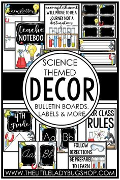Get ready for back to school with the Science decor theme! This editable set is fun, unique, and has everything you need to decorate your classroom with a cohesive look. The perfect DIY bundle for any elementary classroom, including posters, name plates, alphabet posters, teacher notebook, organization labels, bulletin board decor, and more! #thelittleladybugshop