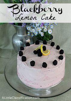 Blackberry Lemon Cake w/ Blackberry Buttercream frosting ALittleClaireification.com #blackberry #dessert #recipe @ALittleClaire