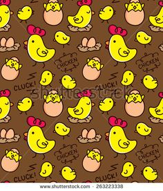 #chicken #doodle #background #pattern #seamless #egg #easter