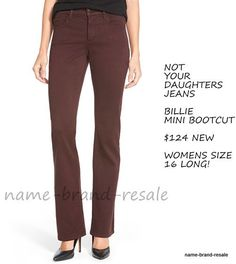 2956847988136  124 NEW NYDJ NOT YOUR DAUGHTERS JEANS Womens 16 LONG Billie Mini Bootcut  Brown  NotYourDaughtersJeans