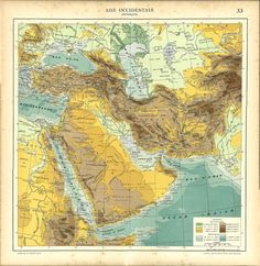 Western Asia Vintage Map 1930s Middle East Near by CarambasVintage