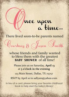 Multiple colors - STORYBOOK Baby Shower Invitation - Once Upon a Time - GIRL or BOY (Printable) on Etsy, $14.00