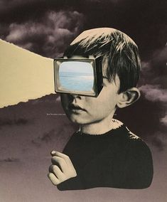 the message in this poster is very powerful. Kids see and act in the ways that they see on tv Pop Art Collage, Surreal Collage, Collage Design, Surreal Art, Digital Collage, Collages, Photomontage, Graphic Design Posters, Graphic Design Inspiration