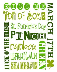 St. Patty's Day Subway Printable