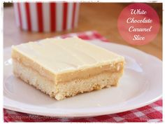 White Chocolate Caramel Slice from A Spoonful of Sugar--The shortbread base is full of coconut! Chocolate Caramel Slice, White Chocolate Recipes, Caramel Bars, Dessert Bars, Dessert Recipes, Cookie Recipes, Cheesecake Tarts, Icebox Cake, Biscuit Recipe