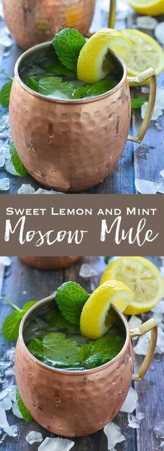 Sweet Lemon and Mint Moscow Mule Add a sweet and delicious twist to your next moscow mule with this Sweet Lemon and Mint Moscow Mule. The perfect summer cocktail! Moscow Mule Drink, Moscow Mule Recipe, Fun Drinks, Healthy Drinks, Healthy Lunches, Alcoholic Beverages, Detox Drinks, Mixed Drinks, Healthy Water
