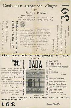 """Francis Picabia, """"Copie d'un autographe d'Ingres"""" et """"Dieu nous aide et fait pousser le caca"""", in 391, n°14, 1920, cover."""