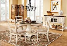 picture of Cindy Crawford Heatherwoods Bisque 5Pc Pedestal Dining Room  from Dining Room Sets Furniture