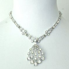 Vintage Bogoff Rhinestone Pendant Drop Necklace by GeneralWhimsy2, $100.00