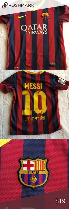 Nike Authentic Messi Barcelona jersey For Messi fans around the world! Argentina's finest plays for Barcelona FC and this is his jersey. On the very low back, there is a small pick in the fabric but lots of wear left. This jersey will make someone's day! Nike Shirts & Tops Tees - Short Sleeve