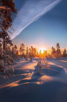 Небо, перестое облако, снег и солнце.