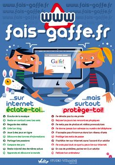 Science infographic and charts L'affiche fais-gaffe. Technology Integration, Science And Technology, Ap French, Safe Internet, Cyber Safety, French Classroom, Digital Citizenship, Teaching French, French Language