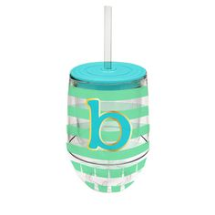 Monogram Stemless Wine Cup-B - Occasionally Made - Monogram Gifts - Great Gift Ideas for Her