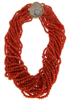 19 Strands Small Nugget Shape Corals and Blister Pearl Clasp Necklace
