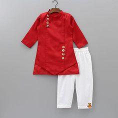 Pre Order: Red Asymmetric Kurta With Pyjama Baby Frocks Style, Baby Girl Frocks, Baby Boy Dress, Baby Frocks Designs, Frocks For Girls, Girls Dresses Sewing, Stylish Dresses For Girls, Little Girl Dresses, Baby Dresses
