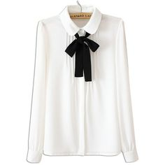 White Ruched Front Bow Tie Long Sleeve Shirt (£14) ❤ liked on Polyvore featuring tops, blouses, long sleeve tops, long white shirt, shirt blouse, white chiffon shirt and long sleeve blouse