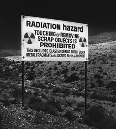 """Warning sign """"Radiation Hazards"""" at the Nevada Test Site, United States. Apocalypse Aesthetic, Post Apocalypse, Nevada Test Site, Karma, Lone Wanderer, John Wilson, Fallout New Vegas, Fallout 3, Night Vale"""