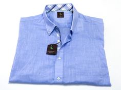 Tailorbyrd 2XL Men's Big & Tall Short Sleeve Button Front Blue Cotton NEW NWT #TailorByrd #ButtonFront
