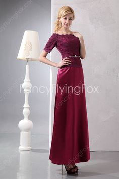 fancyflyingfox.com Offers High Quality Modest Bateau Neckline Short Sleeves A-line Ankle Length Mother Of The Bride Dresses With Lace Bodice ,Priced At Only US$179.00 (Free Shipping)