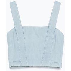 Zara Denim Culottes ($13) ❤ liked on Polyvore featuring tops, crop tops, shirts, tank tops, light blue, blue top, crop shirts, cropped denim shirt, denim top and denim shirt